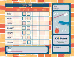 Teeth Cleaning Chart Free Kids Chart For Routines Kid Pointz