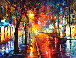 street of the old town oil painting on canvas by leonid afremov size 40
