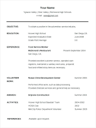 High School Student Resume Sample With No Work Experience Templates