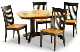 Split Rock Amish Oak Table With  Side Chairs HOM Furniture - Amish oak dining room furniture