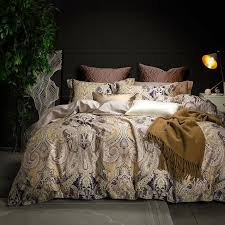 80s egyptian cotton luxury bohemia style bedding set king queen brown blue bed cover boho bedsheets duvet cover set pillowcases bedding king size