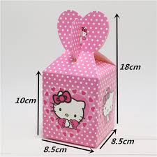 Wholesale-New <b>6pcs Baby Shower Favors</b> Hello kitty Favor Box