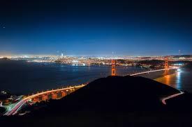 Blue Light In San Francisco Sky Golden Gate Bridge San Francisco Bridge City Lights