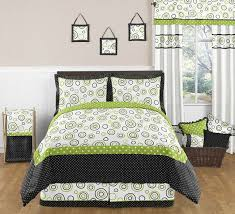 spirodot lime and black queen bed skirt