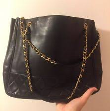 CHANEL Women's Handbags | eBay & Auth CHANEL Vintage Black Quilted Lambskin Chain Tote Shopper Shoulder Bag Adamdwight.com