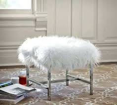 faux mongolian fur rug white creative from stool