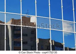 Glass Office Building Reflection Sky Cloud Background Glass Office