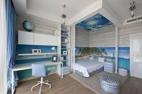 Elegant Beach Themed Master Bedroom Cream Wall Paint Color Covered Bed Frame Dark  Brown Oak Hardwood Flooring Wooden Venetian Blind Wood Framed Wall Picture