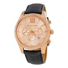 michael kors lexington rose gold tone dial black leather men chrono watch mk8516
