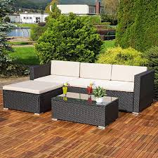 3pc corner sofa rattan set luxury