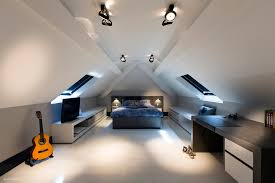 workspace lighting. Fascinating Attic Interior Teenager Bedroom Design Plus Blue Lighting And Acoustic Guitar Also Minimalist Workspace Table As Well Large Entertainment