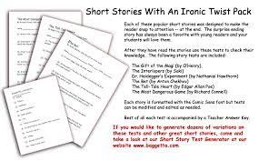 literary exams page short stories short stories an ironic twist test pack