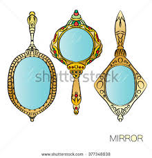 vintage hand mirror clipart. set of three gold vintage hand mirror. round, ellipse, oval mirrors. mirror clipart