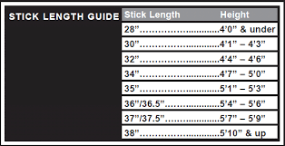 Stick Size Chart How To Choose A Field Hockey Sticks From Longstreth