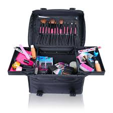 soft makeup artist rolling trolley cosmetic case with free set of mesh bags jet black