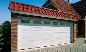 white sectional garage door with glazed panels