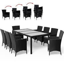Salon de jardin 17 pièces Ensemble table & 8 chaises Alu Polyrotin ...