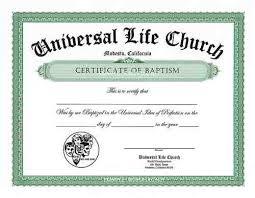 Baptism Certificate Baptism Certificate Ulc Baptism Certificate Universal Life