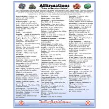 Affirmations Reference Chart Healing Crystals
