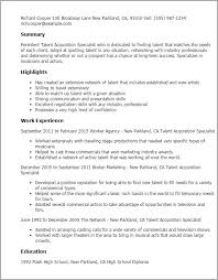 Very Good Resumes Very Good Resume Examples 1 Talent Acquisition Specialist Templates