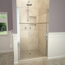 h semi frameless pivot shower door in polished chrome with pull handle and clear glass