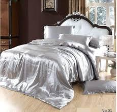 california king sheets silver satin silk bedding set king queen size quilt duvet cover fitted sheets california king