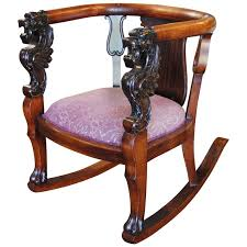 antique wood rocking chair carved griffin lion dragon at
