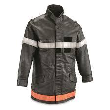french munil surplus leather fireman s coat used black