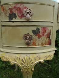 floral decoupage furniture. Detail From Vintage, Shabby Chic Dressing Table, Painted Yellow, Distressed Then Decorated Using Floral Decoupage And Gold Leaf. Furniture