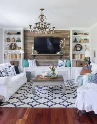 living room setup. love the shiplap wall behind tv living room setup e
