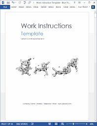 Work Instructions Examples How To Write Work Instructions Templates Forms