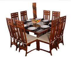 teak wood square 8 seater dinning table set