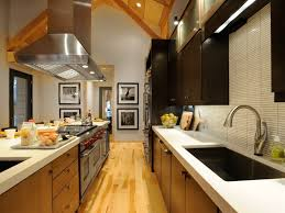 Kitchen: Breathtaking Modern Galley Kitchen Design With Vaulted Ceiling And  Black Kitchen Cabinet - Galley