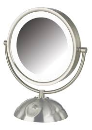 amazon jerdon hl8505nl 8 5 inch led lighted vanity mirror with 8x magnification nickel finish personal makeup mirrors beauty