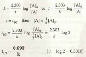 half life of a first order reaction chemistry assignment it