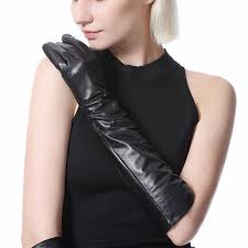 women leather gloves winter genuine leather mittens fashion workout goatskin long gloves pw9704 n womens gloves
