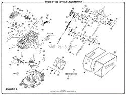 homelite p1102 18 volt lawn mower mfg no 107179001 parts diagram figure a