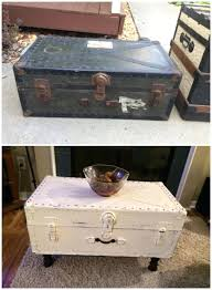 repurposed into coffee table vintage military trunk into a coffee table