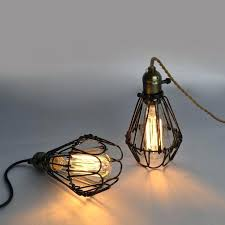 iron cage pendant light bulbs country industrial restaurant bedroom foyer parlor vintage lamp kmart