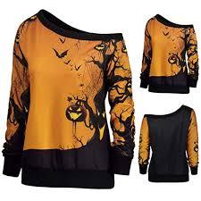 Womens Sloping Shoulder Pumpkin Bats Print Top Blouse Long