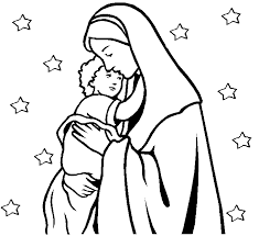 Madonna Con Bambino E Stelle Disegno Da Colorare Gratis Per Bambini