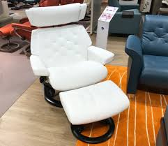 stressless skyline signature base batick snow white leather recliner chair by ekornes