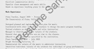 Piano Teacher Resume Sample Professional Piano Teacher