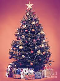 Christmas Tree Photograph - Decorated Vintage Christmas Tree With Presents  Under It by Oleksiy Maksymenko