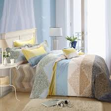 white yellow brown and light blue indian tribal pattern bohemian style exotic 100 brushed cotton full queen size bedding sets