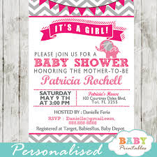 Hot Pink Elephant Baby Shower Invitation Card D103 Baby Printables