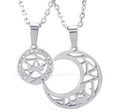 titanium silver moon and stars pendant necklace free chain one pair