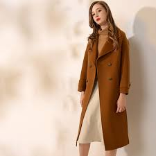 wool coat women vintage womens cashmere coat turn down belt caramel long womens 2017 cashmere