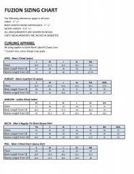 Kobe Sportswear Size Chart Sizing Chart Fuzion Sportswear