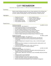 Resume For Warehouse Jobs Warehouse Associate Maintenance And